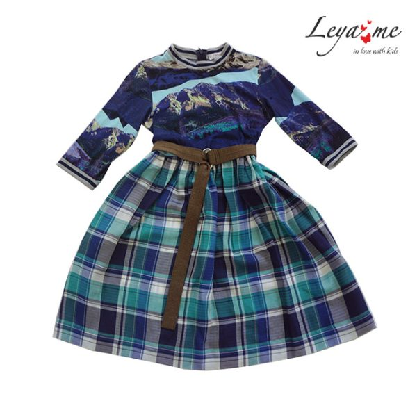 Комбинированное трикотажное детское платье с принтом гор и юбкой в клетку