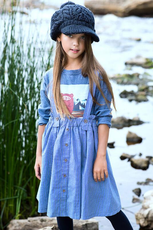"""Синяя детская толстовка для девочки с принтом """"Мишка Тео в горах"""""""