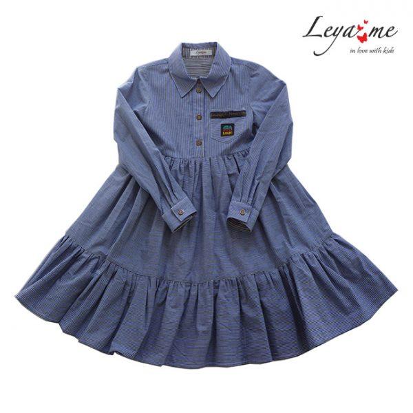 Детское платье-рубашка в полоску с нашивкой на кармане