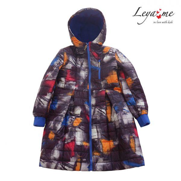 Детское стеганое пальто с капюшоном с принтом для девочки