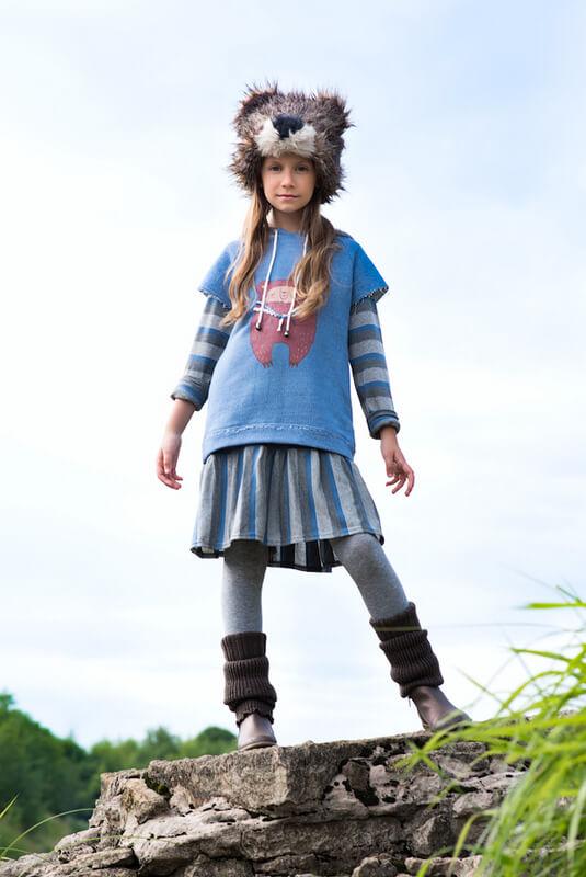 Трикотажное платье детское в серо-голубую полоску