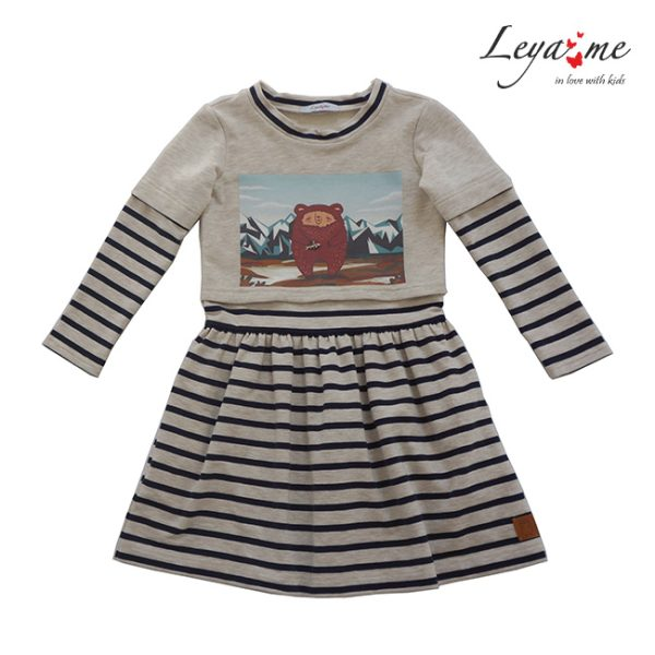"""Комбинированное платье детское с имитацией футболки и принтом """"Мишка Тео в горах"""""""