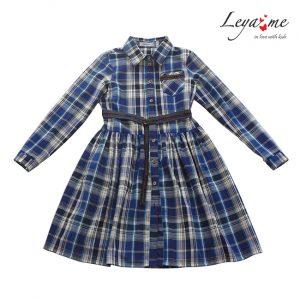 Платье-рубашка в клетку на девочку