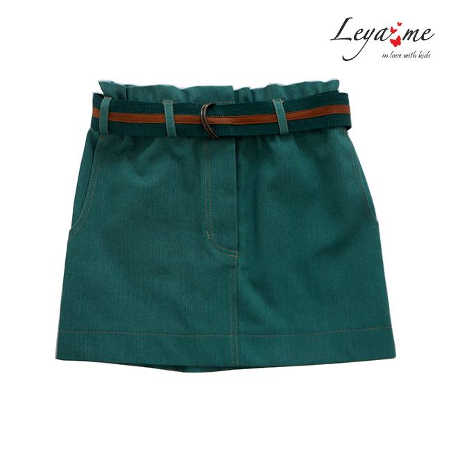 Юбка джинсовая зеленая на девочку