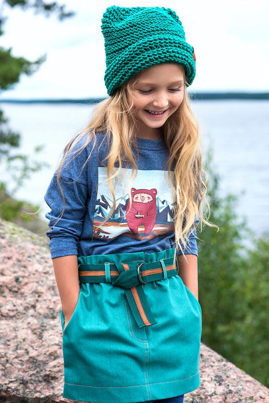 Юбка джинсовая зеленая на девочку 2021 1