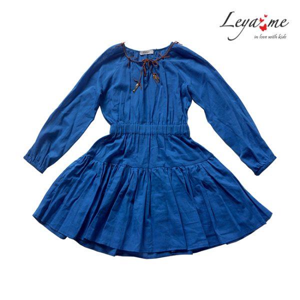 Ярко синее детское платье-туника на девочку