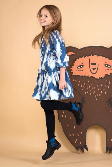 Платье-туника из льна бело-синяя на девочку 2020 1