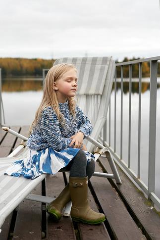 Юбка детская из льна сине-белая