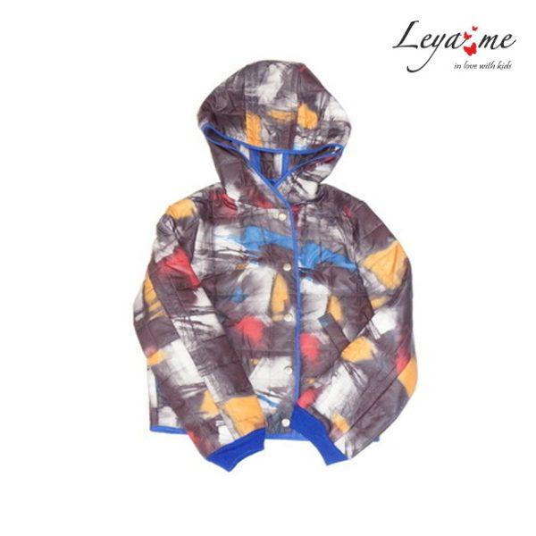 Куртка детская стеганая на девочку с разноцветным принтом
