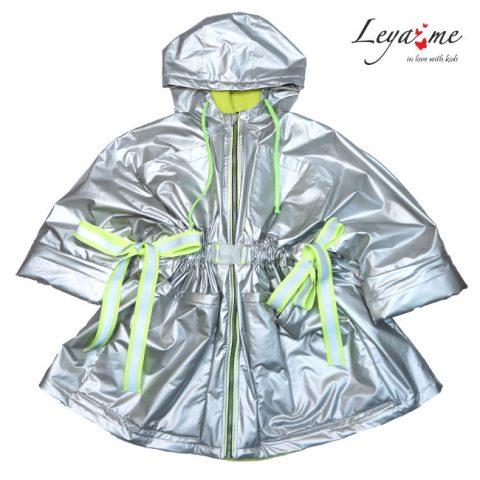 Серебристая куртка для девочки, с неоновыми деталями