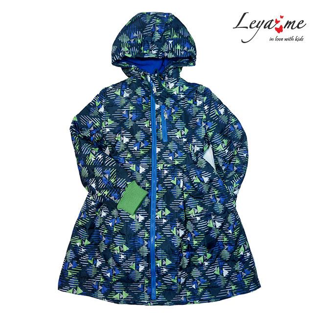 Детское стеганое пальто с флисовой подстежкой и принтом