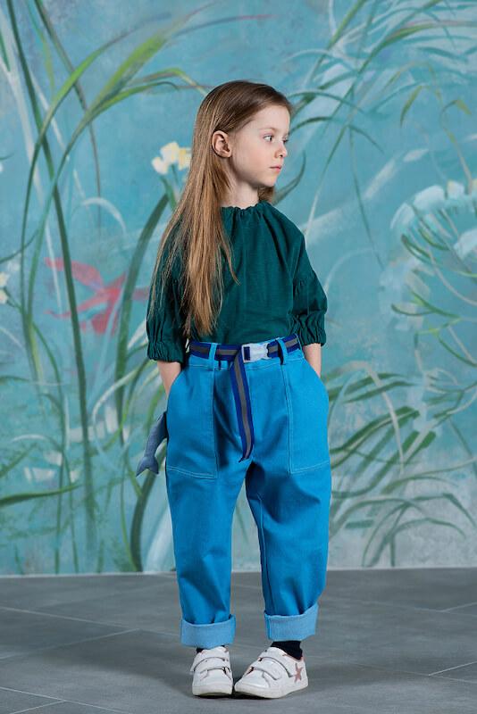 """Бирюзовые детские джинсы для девочки """"Дельфин"""" 2021 1"""