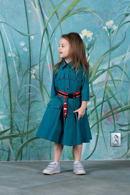 """Детское платье-рубашка цвета морской волны """"Немо"""""""
