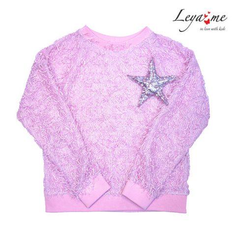 """Розовый свитшот для девочки, с брошью """"Морская звезда"""""""