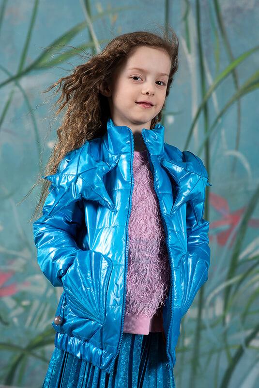 Сине-бирюзовая детская стеганая куртка 2021 1