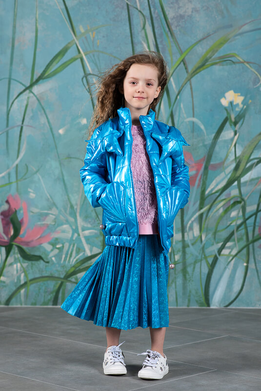 Бирюзовая детская юбка плиссе металлизированная 2021 1