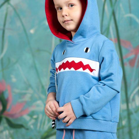 """Голубая детская толстовка с капюшоном """"Акула"""", для мальчика"""