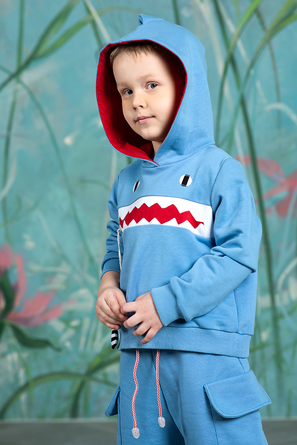 """Голубая детская толстовка с капюшоном """"Акула"""""""