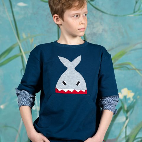 """Синий детский свитшот для мальчика с рукавами и аппликацией """"Акула"""""""