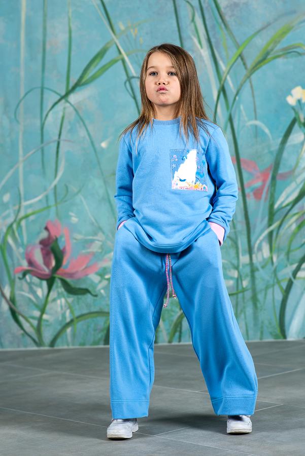 Голубые широкие детские брюки для девочки