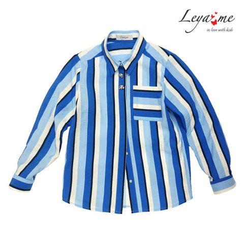 Рубашка для девочки, в сине-голубую полоску
