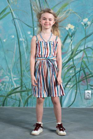 Летний детский сарафан для девочки, из яркой вискозы в полоску