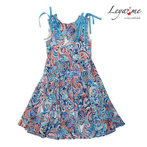 Детское платье c цветами с открытой спиной из принтованной вискозы с декором на плечах