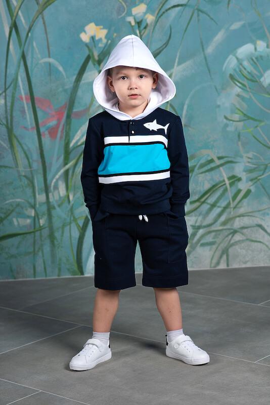 Толстовка с капюшоном  темно -синяя на мальчика 2020 1