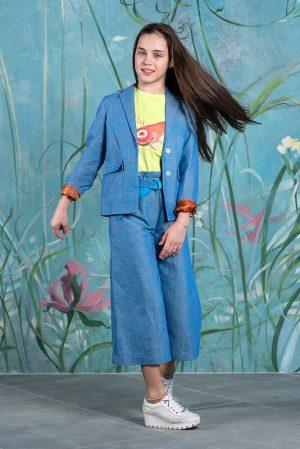 Летний голубой детский жакет для девочки, из льна