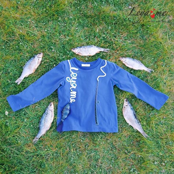 """Детский свитшот для мальчика """"Рыбалка"""" серо-голубой"""
