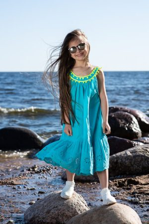 Бирюзовый летний детский сарафан для девочки, с неоновыми деталями