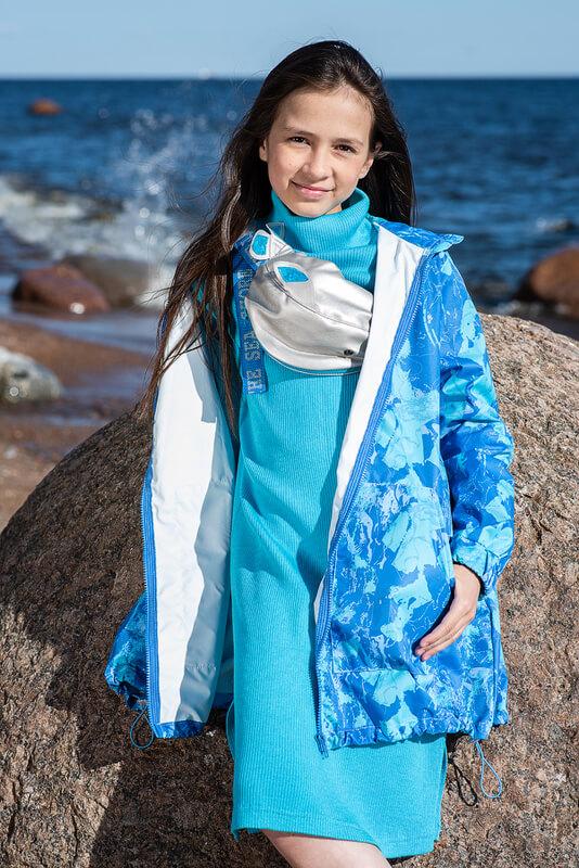 Бирюзовое детское платье-чулок для девочки
