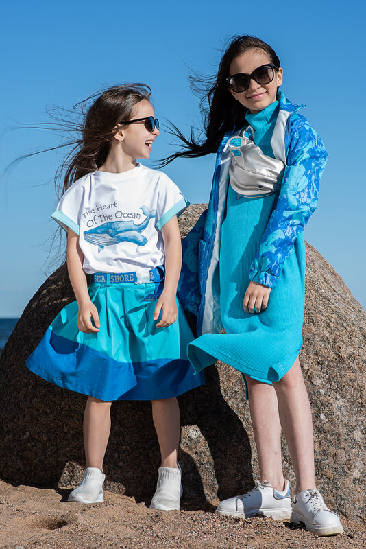 Бирюзово-синяя детская юбка со складками 2021 1