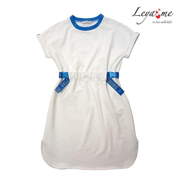 Белое детское платье-туника для девочки