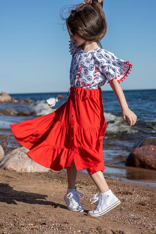 Кораллово-красная детская юбка с оборками 2020 1