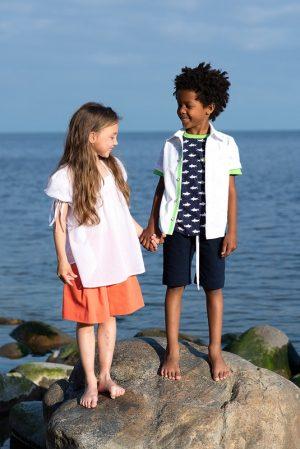Льняная детская рубашка для мальчика, с коротким рукавом