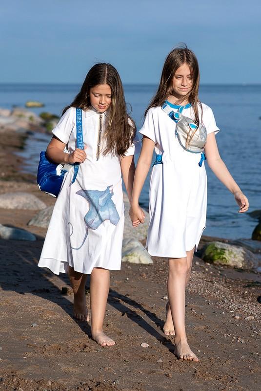 Белое детское платье-рубашка для девочки