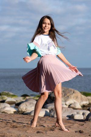 Детская футболка для девочки, с воланами на рукавах и принтом Ocean is love