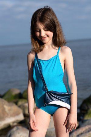 Бирюзовый детский купальник для девочки, с рыбкой