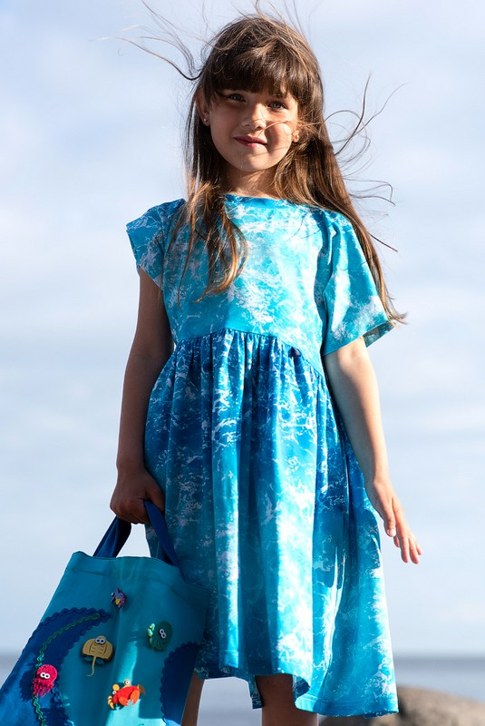 Трикотажное детское платье-туника для девочки