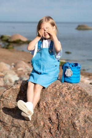 Детский джинсовый сарафан для девочки, с карманами-ракушками