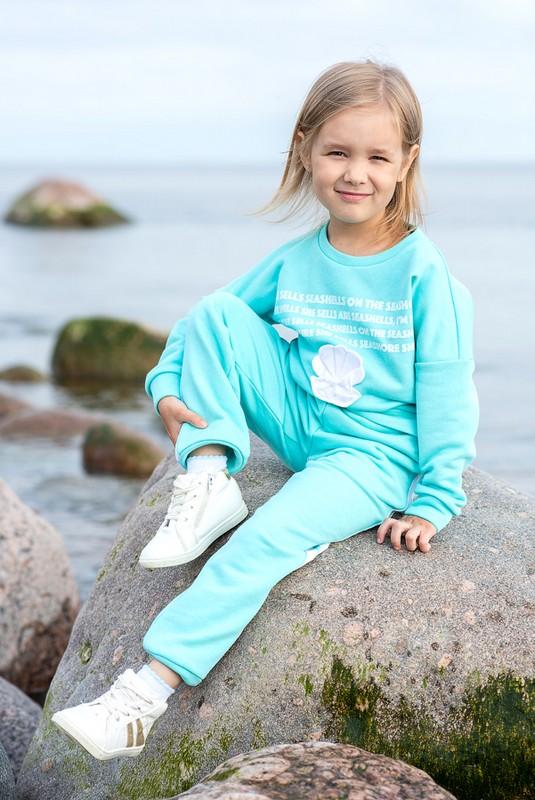 Бирюзовый детский свитшот для девочки