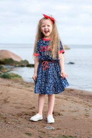 Детское платье для девочки, с принтом – морскими обитателями с трикотажным верхом