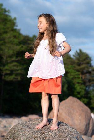 """Летняя белая детская блузка для девочки, из хлопка с пышными рукавами """"Медуза"""""""