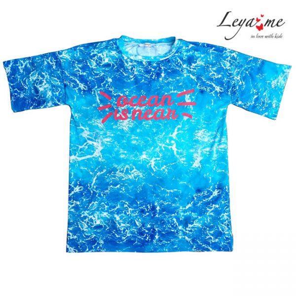 Бирюзовая детская футболка оверсайз c принтом Ocean is Near