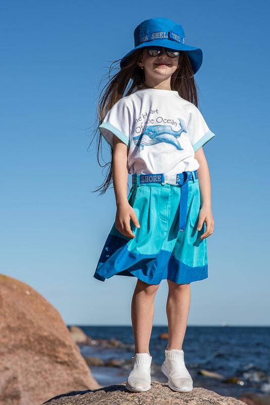 Летняя детская голубая панама со стропой