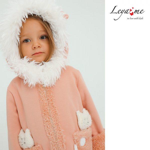 """Детский розовый костюм для девочки с мехом """"Котенок"""""""