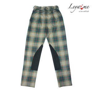 Детские брюки в клетку для девочки, бежево-зеленые с замшевыми вставками