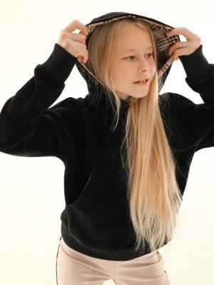 Детский худи для девочки, из черного бархатного трикотажа