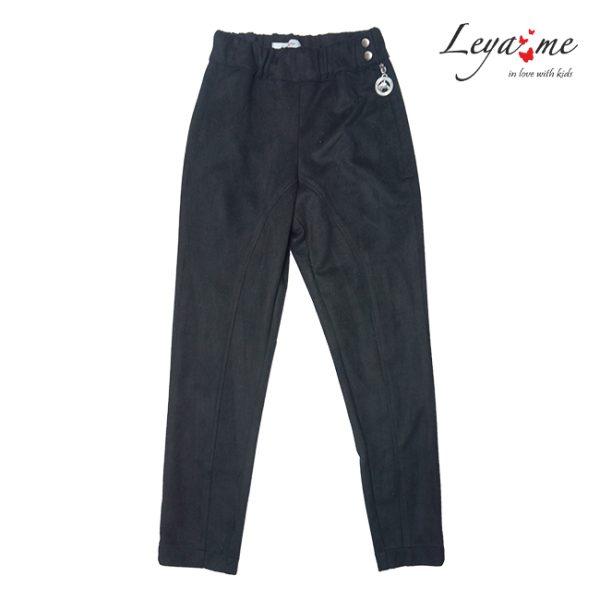 Детские черные брюки из замши для девочки